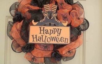 Another DIY With Dollar Tree Items , My First Halloween Mesh Wreath