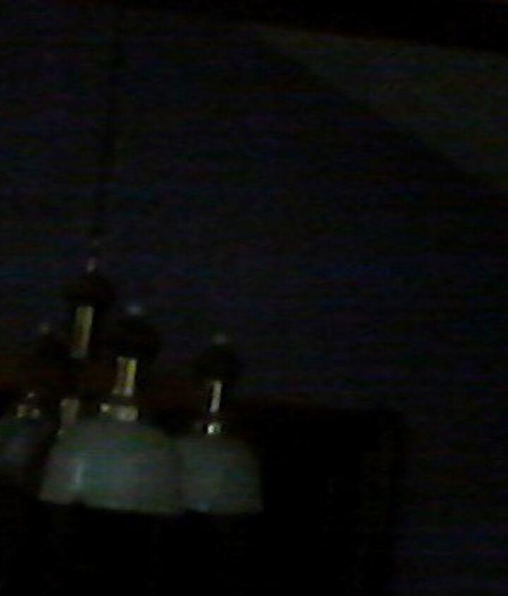 q light fixture with broken glass shades