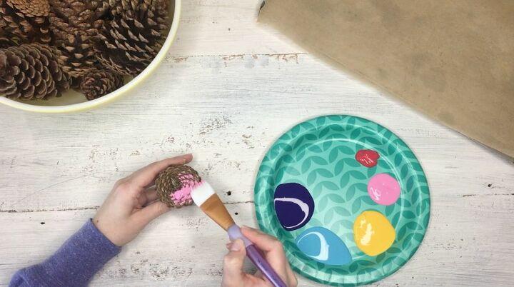 s 3 wreath ideas to brighten up your front door, Step 2 Paint the bottoms of pinecones
