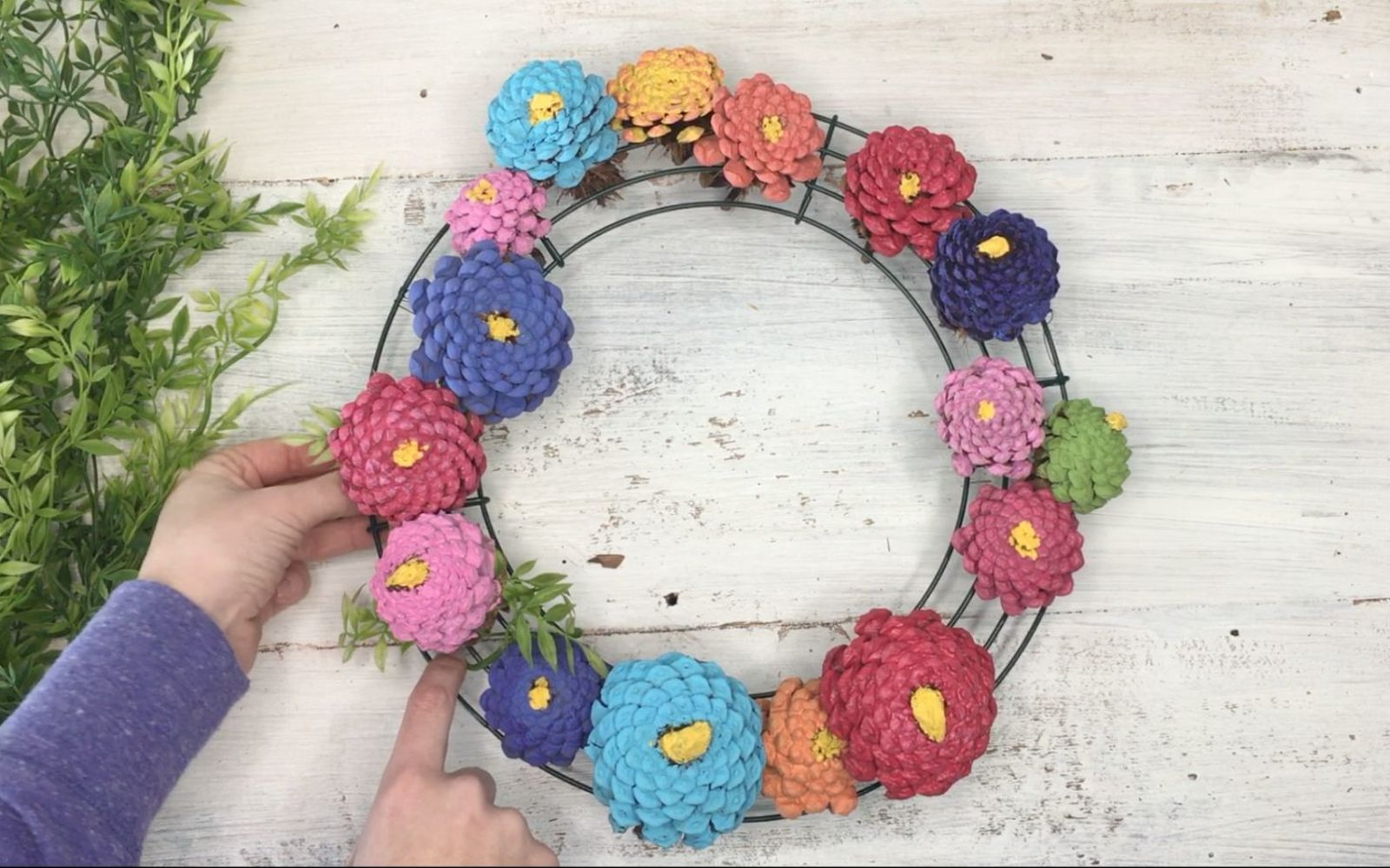 s 3 wreath ideas to brighten up your front door, Step 6 Grab any greenery to fill empty spots
