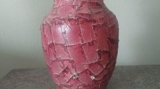 , glass vase covered with pieces of masking tape painted sprayed with clear coating