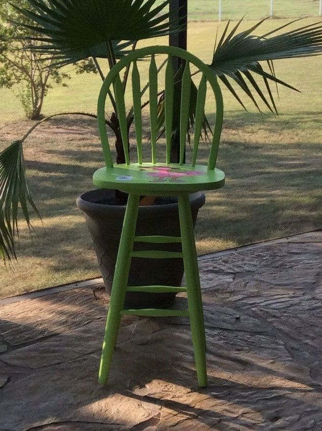 thrift shop bar stools revamped for beach house