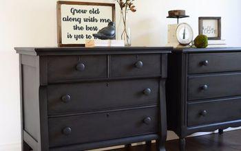 mismatched nightstands in deep grey