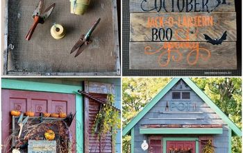 Adding a Spooky Sign to the Potting Shed for Halloween