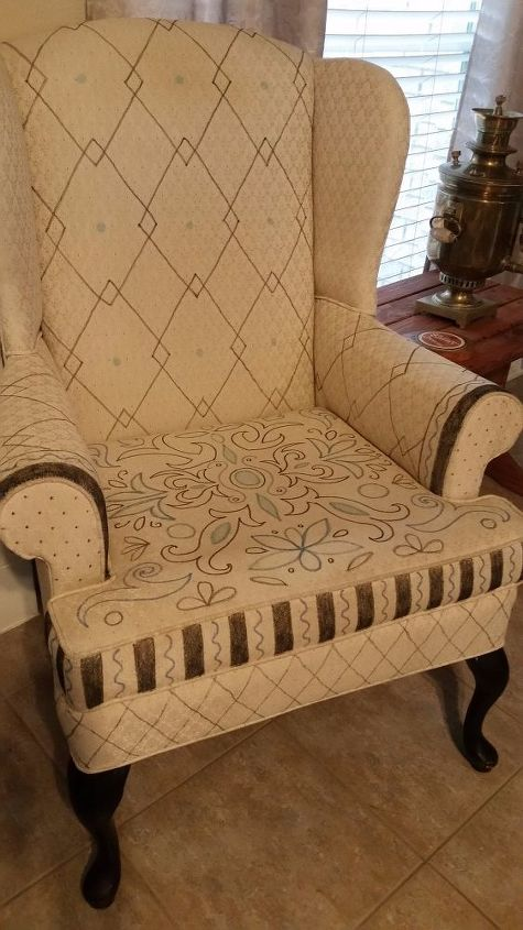 decorated fabric chair