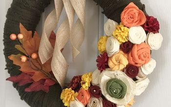 fall sweater upcycled wreath with fabric flowers