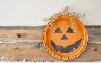 fun halloween countdown made from an old metal tray