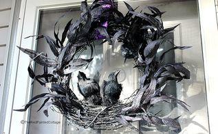 diy scary ravens wreath for halloween