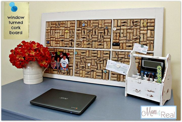 s use your old corks for these 25 clever ideas, Old Window Turned Cork Board