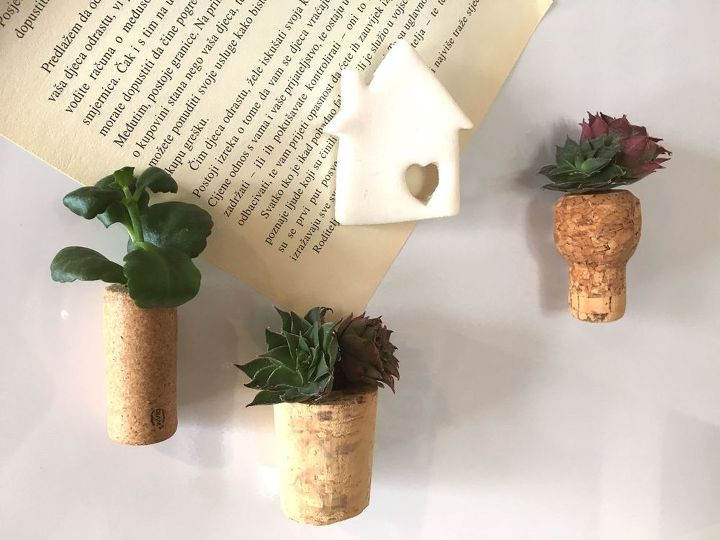 s use your old corks for these 25 clever ideas, Succulent Wine Cork Magnets