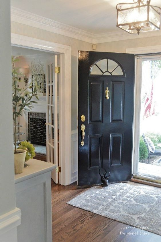 traditional to modern farmhouse glam foyer makeover