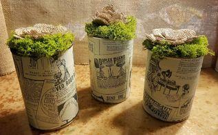 cute little aluminum can burlap flower pots