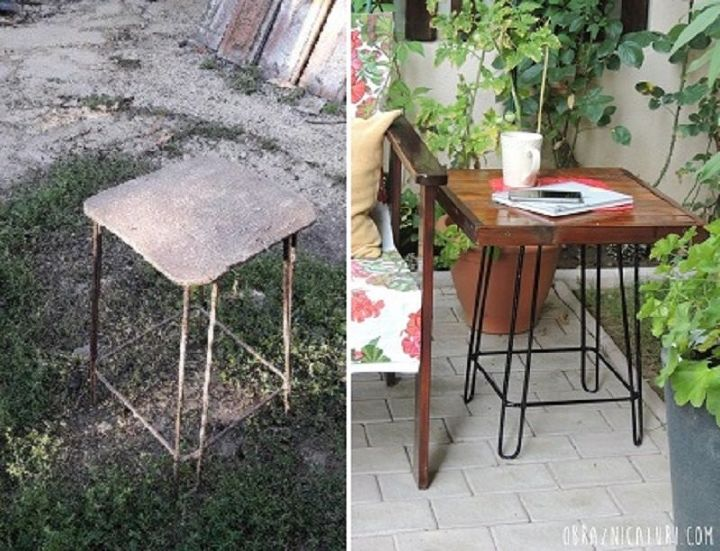 the old stool turns into an industrial side table