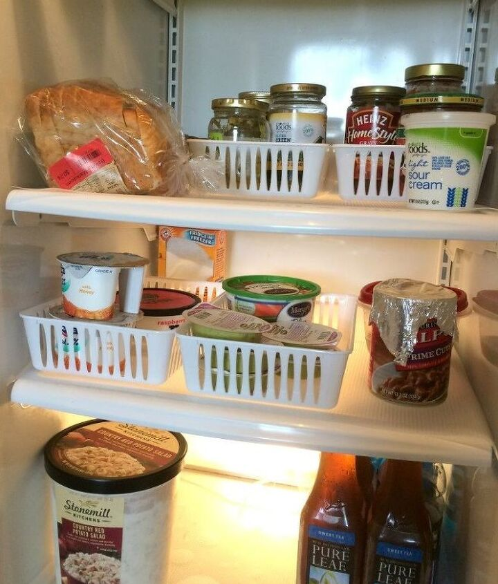 s want an organized fridge try this today , Compartmentalize your fridge with bins