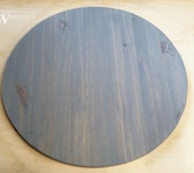 wooden lazy susan tray using a salvaged table lamp piece