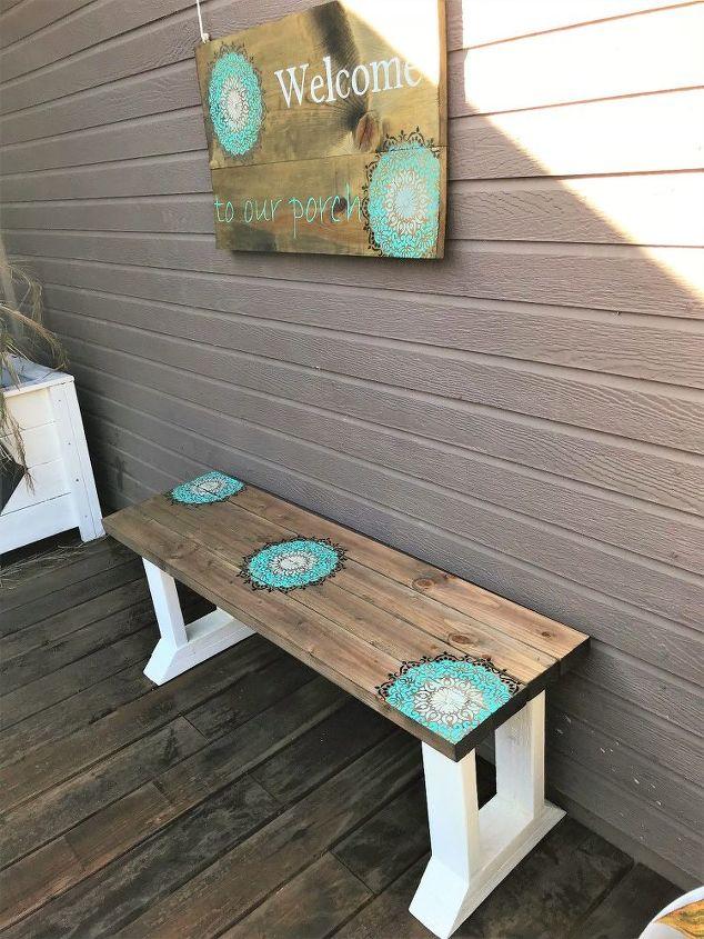 diy stenciled farmhouse bench