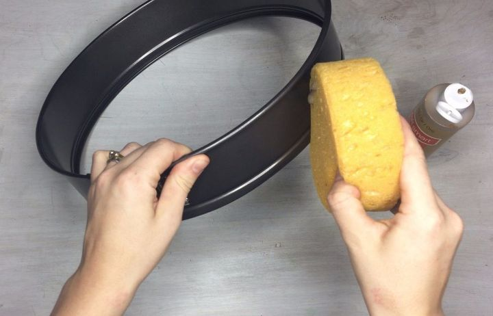 s turn a cake pan into a shelf more clever repurposing ideas, Step 4 Sponge paint pan ring optional