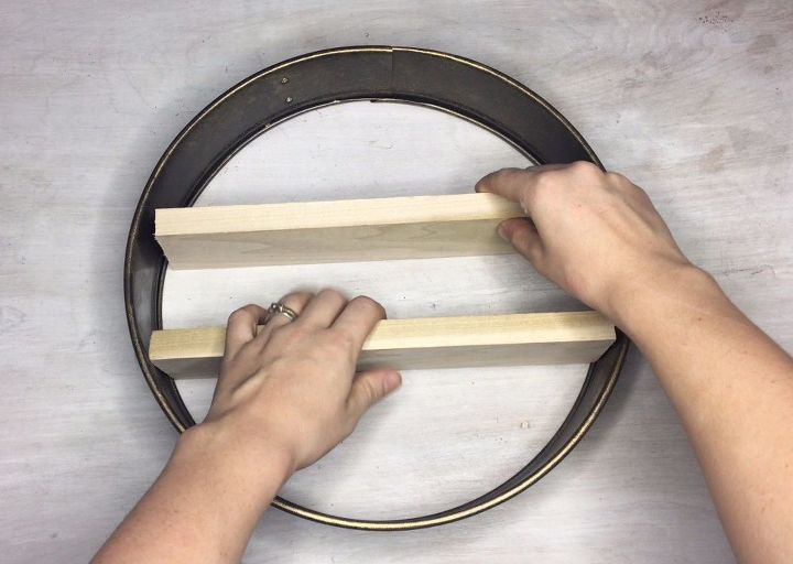s turn a cake pan into a shelf more clever repurposing ideas, Step 5 Insert wood pieces into ring