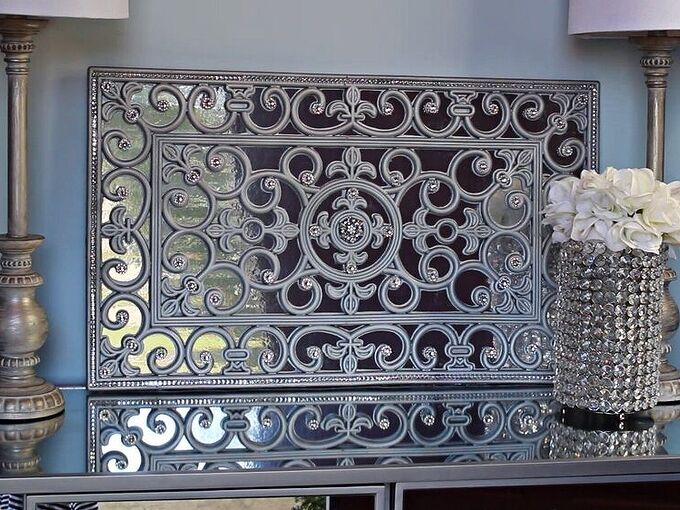 a new way to use doormat as a faux mirror wall art, Add diamond wrap