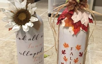 easy fall bottle decor, Fall Autumn bottles DIY