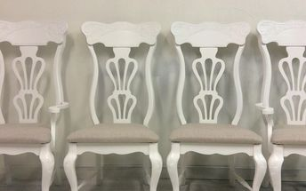 vintage farmhouse style dining chairs get a modern makeover