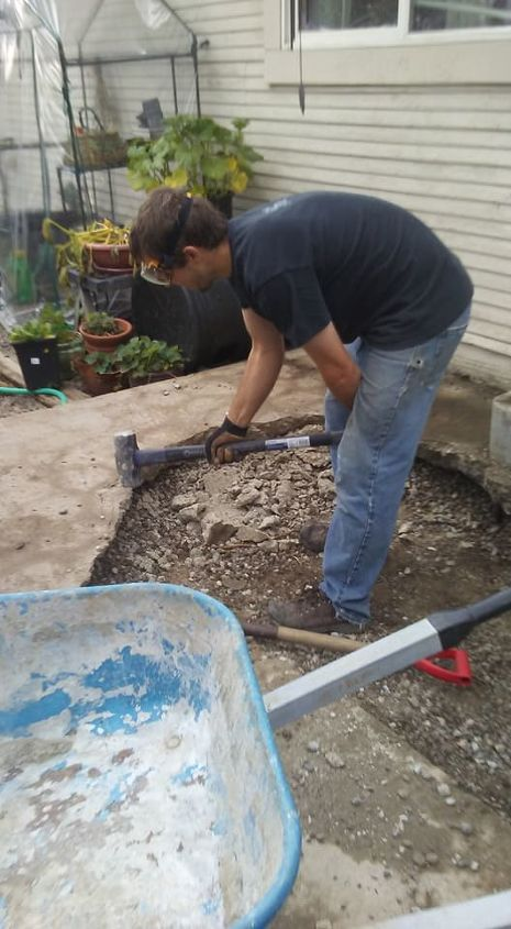 Husband (Aaron) Removing Concrete Patio