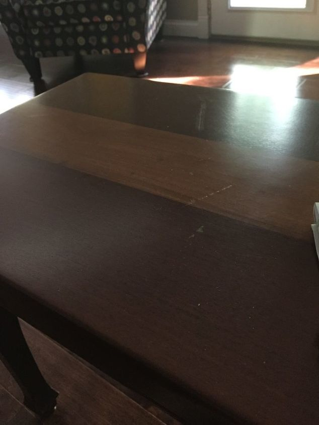 q antique wood coffee table damaged