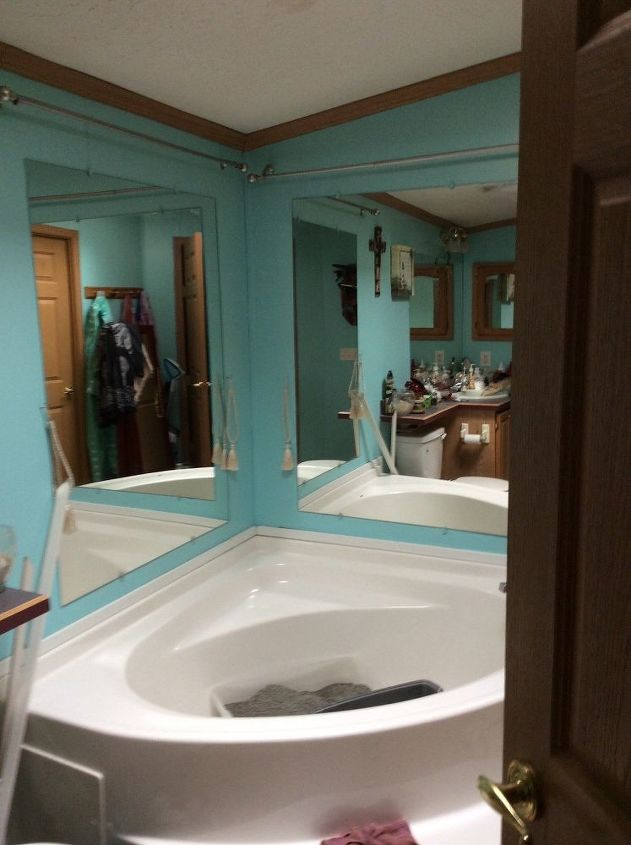 q help i want to get rid of mirrors in bathroom