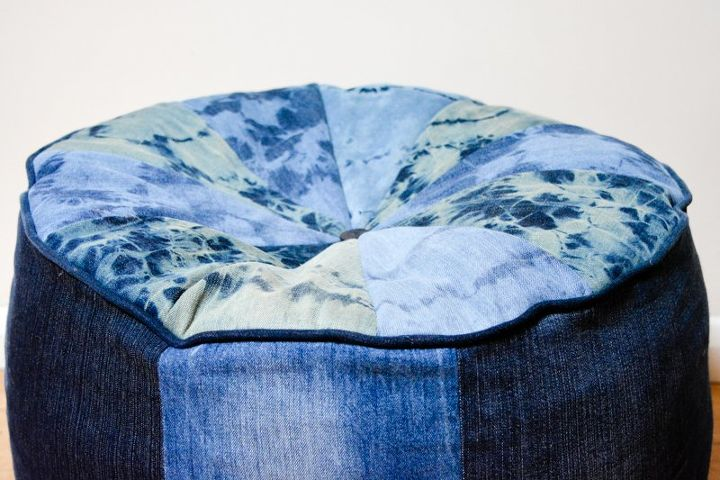 large denim floor cushion