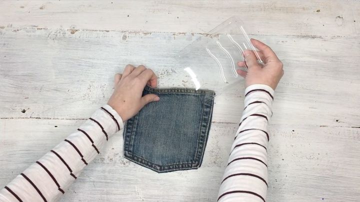 s step by step upcycle your old clothing items for these great ideas, Step 4 Insert plastic into pocket