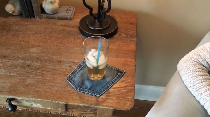 s step by step upcycle your old clothing items for these great ideas, Step 5 Use your cute coaster