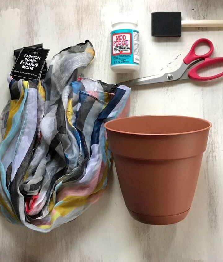 s step by step upcycle your old clothing items for these great ideas, Next Use Your Scarf For A Patchwork Pot