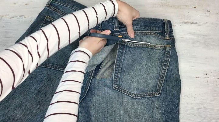 s step by step upcycle your old clothing items for these great ideas, Step 1 Cut out pocket of jeans