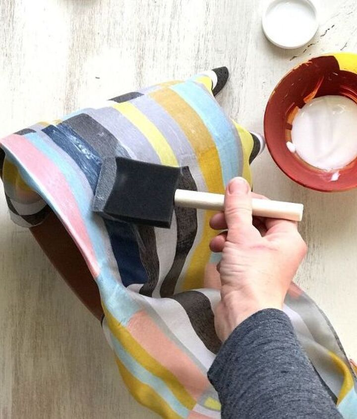 s step by step upcycle your old clothing items for these great ideas, Step 2 Mod Podge scarf onto pot