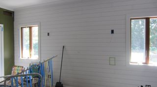 , Got the shiplap as individual boards fro under 5 ea at Home Depot They sell it in packages but it s more expensive that way Be sure to level the first row at the top then go down from there Caulk with white paintable caulk on left and right sides when done using painters tape to make straight lines