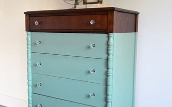 paint dipped teal dresser