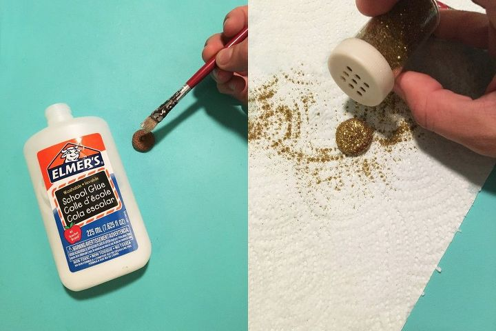 s 3 gorgeous easy projects to help you decorate for fall, Step 4 Sprinkle glitter on the acorn caps