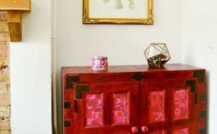 cabinet upcycle with red chalk paint and napkins