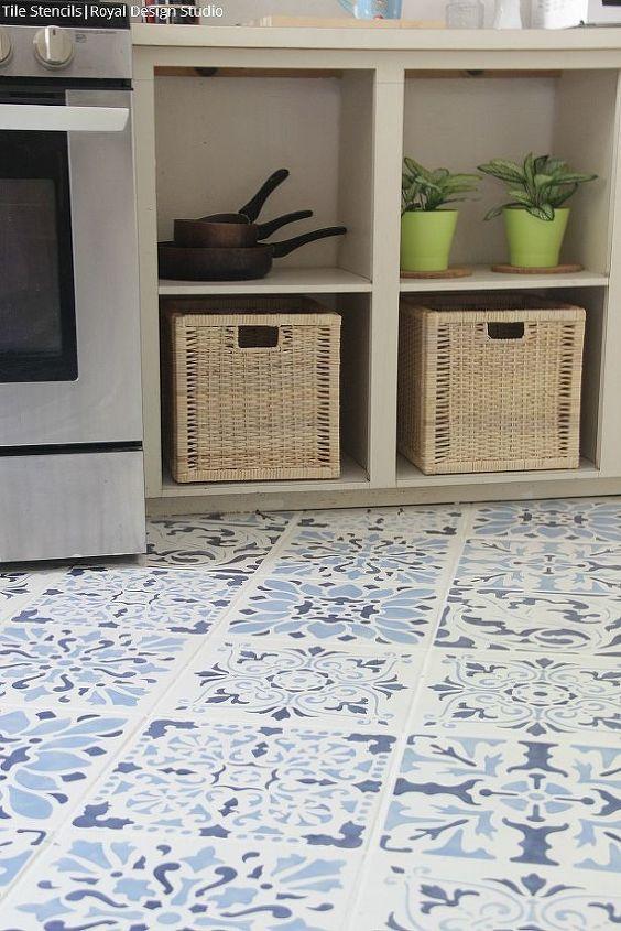 Beautiful Stenciled Tile Floor