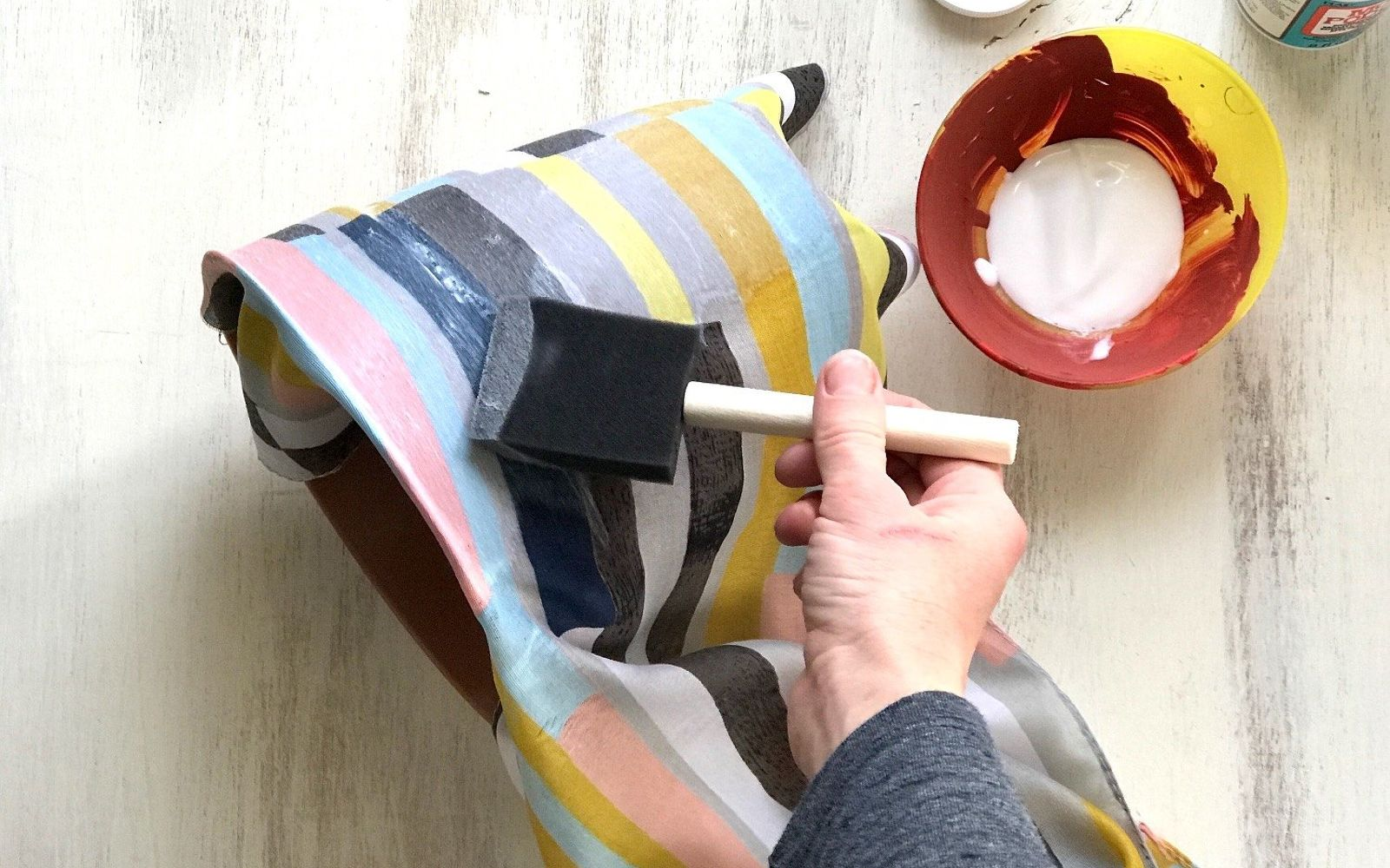 s upcycle your old clothing items for these great ideas, Step 2 Mod Podge scarf onto pot