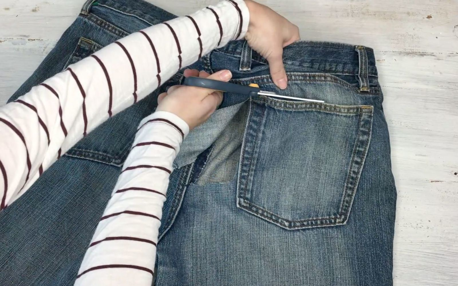 s upcycle your old clothing items for these great ideas, Step 2 Cut out pocket of jeans