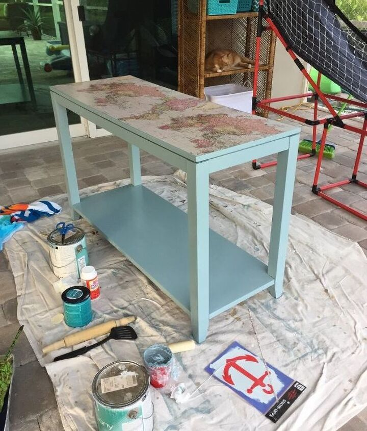 old dark console table gets a new beachy look