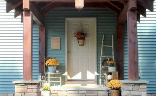 fall front porch and diy birch ladder