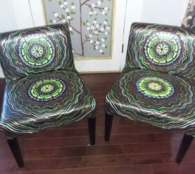 Boho Painted Vinyl Mandala Chairs, Finished Chairs Brighten Up Living Room