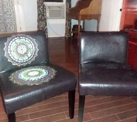 Boho Painted Vinyl Mandala Chairs, One Chair Started One To Go