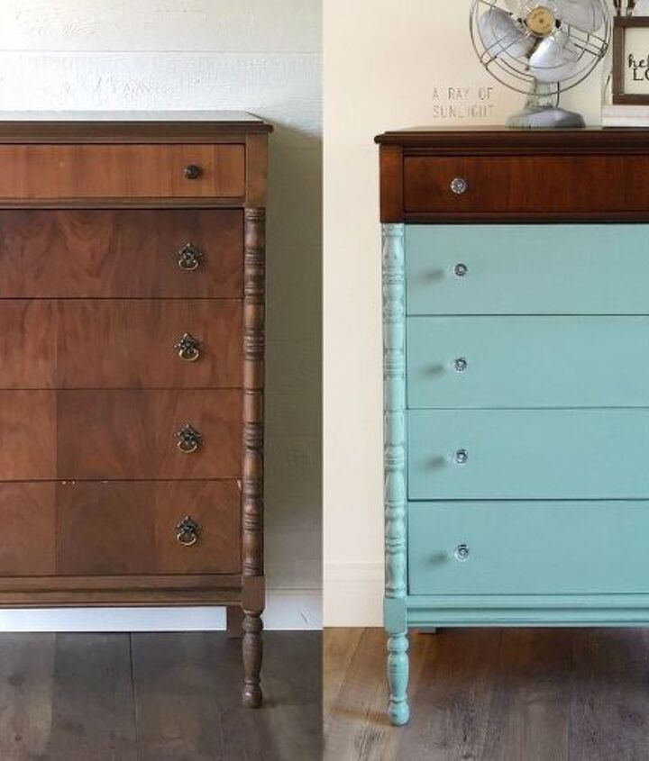paint dipped highboy dresser in teal
