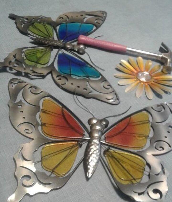 Supplies, butterflies, flowers, hammer, nails
