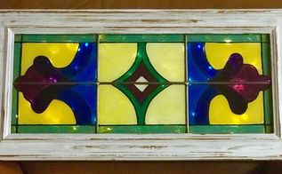 5 glass cabinet door transformed into faux stained glass window