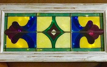 EDITED$5 Glass Cabinet Door Transformed Into Faux Stained Glass Window