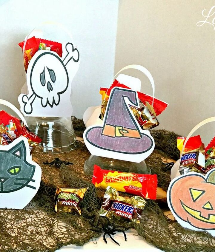 halloween themed shaped candy baskets diy paper craft
